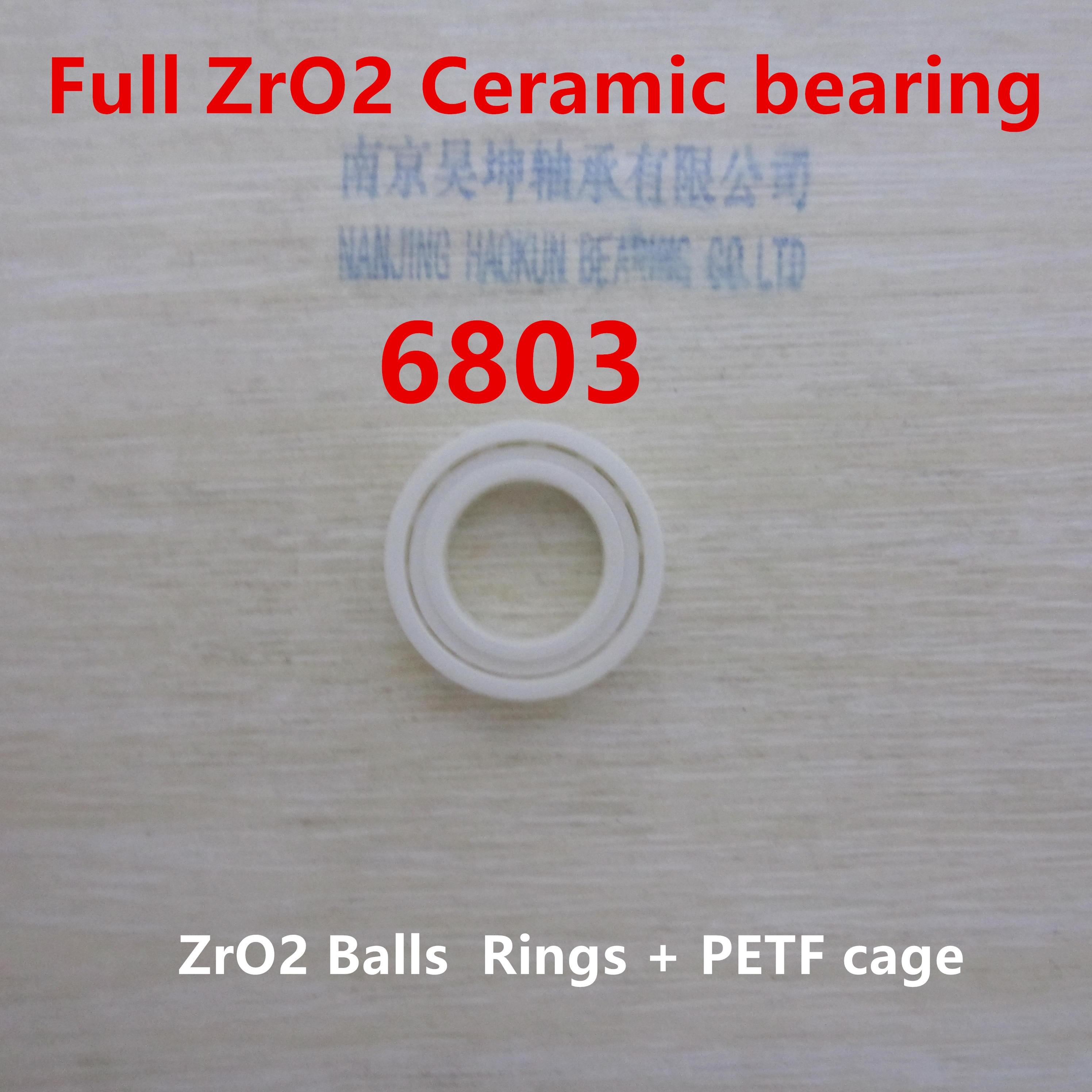 Ceramic bearing 6803 / 61803 17*26*5mm Full ZRO2 Ceramic material ceramic wheel hub bearing zro2 15267 15 26 7mm 15267 full zro2 ceramic bearing