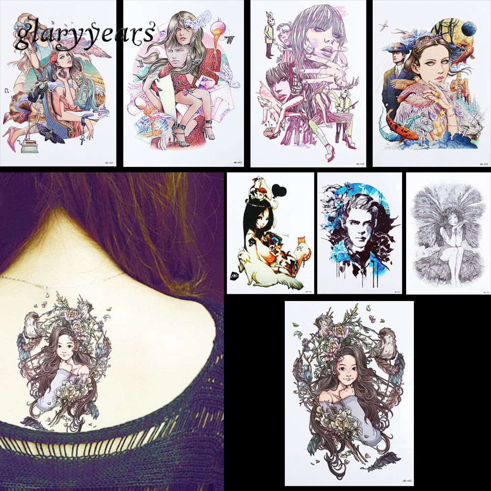 8 Pieces Many Belle Pattern Design Tattoo Sticker Temporary Flower Bird Decal Women Leg Body Art Waterproof Tattoo Sticker HB#62