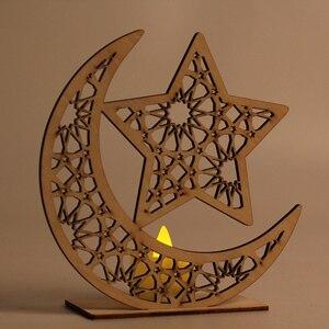 Image 5 - Wooden Ramadan Eid Mubarak Decorations led night ligths Home Moon Star LED Candles Light Muslim Islam Hanging Pendant Decor