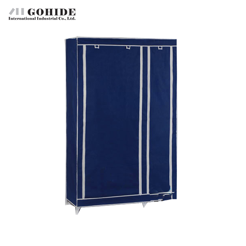 Gohide Simple Cloth Folding Non-Woven Steel Frame Wardrobe Double Layer Garderobe Home Furnishing Decoration Storage Cabinet