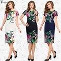YOUMIGUE Новая Женская Элегантные Цветы Цветочные Печатный Ruched Cap Рукавом Рюшами Повседневная невесты мать Невесты Вечер Dress