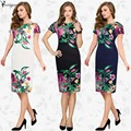 YOUMIGUE New Womens Elegant Flower Floral Printed Ruched Cap Sleeve Ruffle Casual bridesmaid Mother of Bride Evening Party Dress