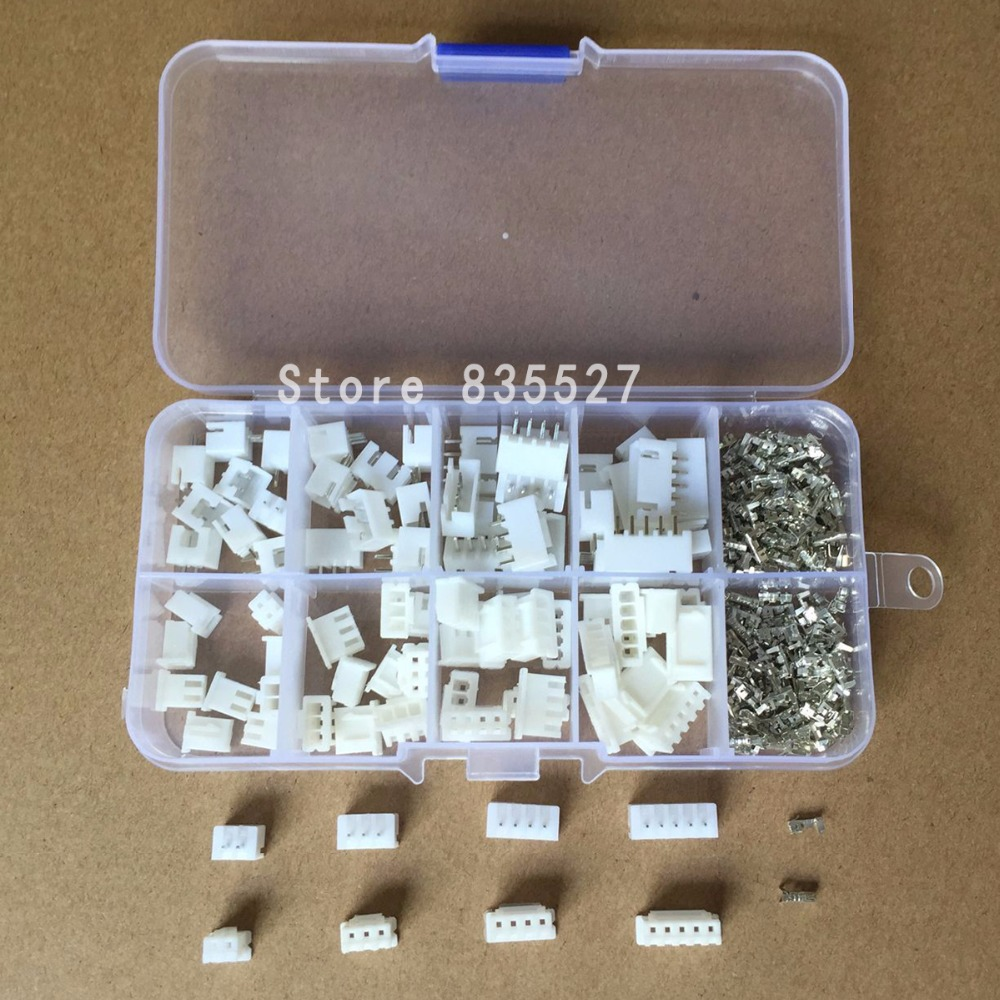 230pcs 40Sets/box Kit 2.54mm XH2.54 2p 3p 4p 5p Pin Connector Plug + Straight Needle + Terminal Socket Header Wire Adaptor Y A S