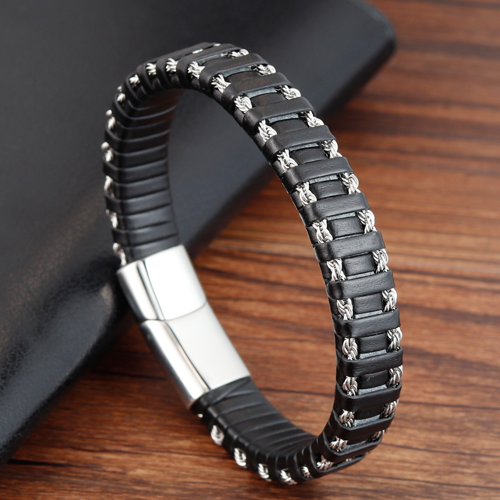 Punk Stainless Steel Chain Combination Leather Bracelet Multi-layer Accessories Personality Men Bracelet Collection Gift