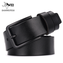 DWTS cow genuine leather luxury strap male belts for men new fashion classice vintage pin buckle leather belt male belt men cheap Adult Cowskin Metal 3 8cm Solid 6 5cm 4 5cm
