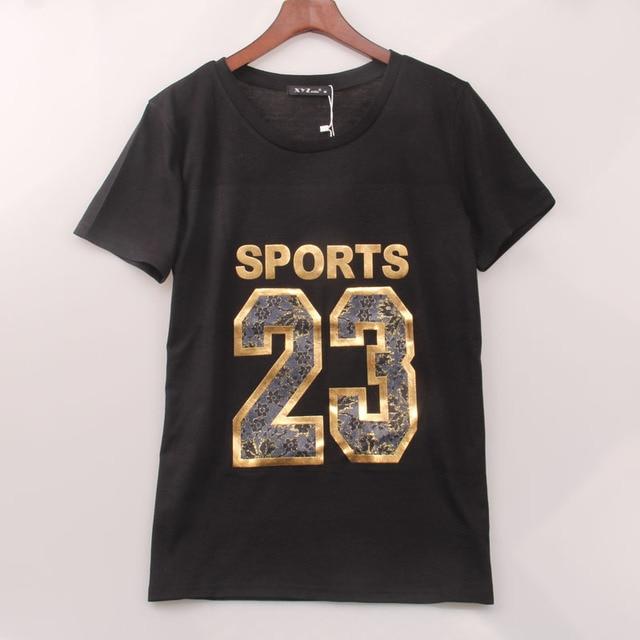 8f5d51864 2016 Hot Sale T Shirt Women Letters 23 Golden Printed T-shirt Women Summer  Style Fashion Tops Tee Shirt Femme Woman Clothing