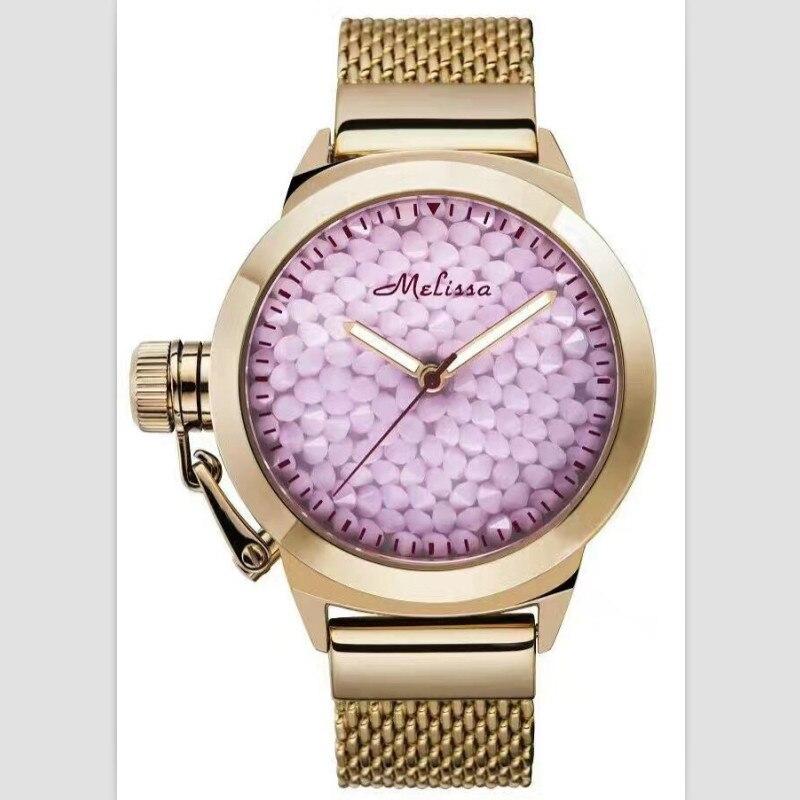 Estrelas da Noite Relógios para Mulheres Pulseira de Aço Relógio de Quartzo Melissa Marca Clássico Estrelado Cristais Completos Grande Completo Analógico Montre Relojes