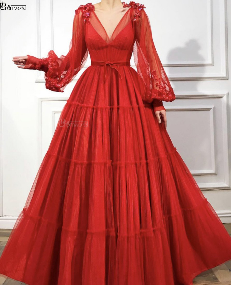 Red Muslim Evening Dresses 2019 A-Line Long Sleeves V-Neck Tulle Islamic Dubai Saudi Arabic Formal Evening Gown Long Prom Dress