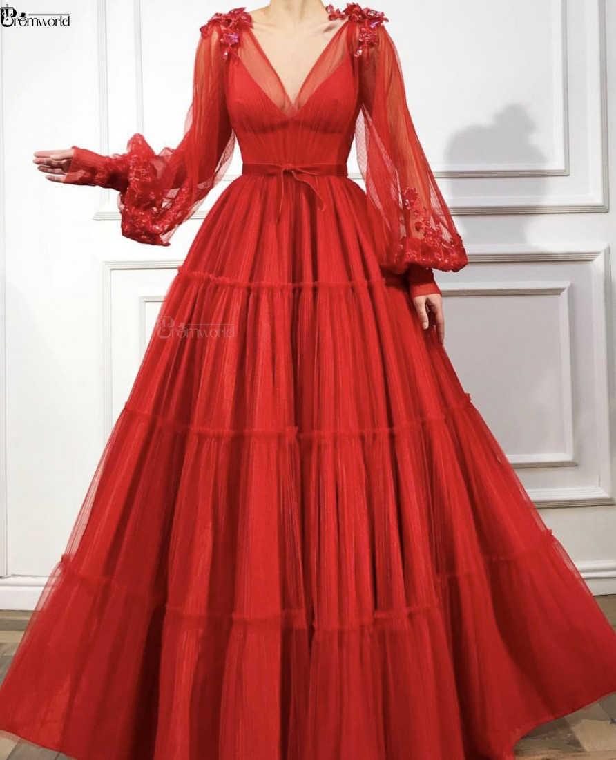 Rode Moslim Avondjurken 2020 A-lijn Lange Mouwen V-hals Tulle Islamitische Dubai Saudi Arabische Formele Avondjurk Lange Prom Dress