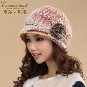 Image 3 - Charles Perra Women Hats Winter Thicken Double Layer Thermal Knitted Hat Handmade Elegant Lady Casual Wool Cap Beanies 3538