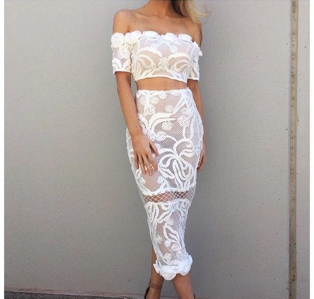 AS221 2017 new spring and summer lace set fashion skirt shirt flower white and black sexy strapless