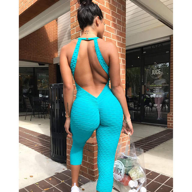 Hot Sexy Girls Backless Fitness Tights Jumpsuit Yoga Sport