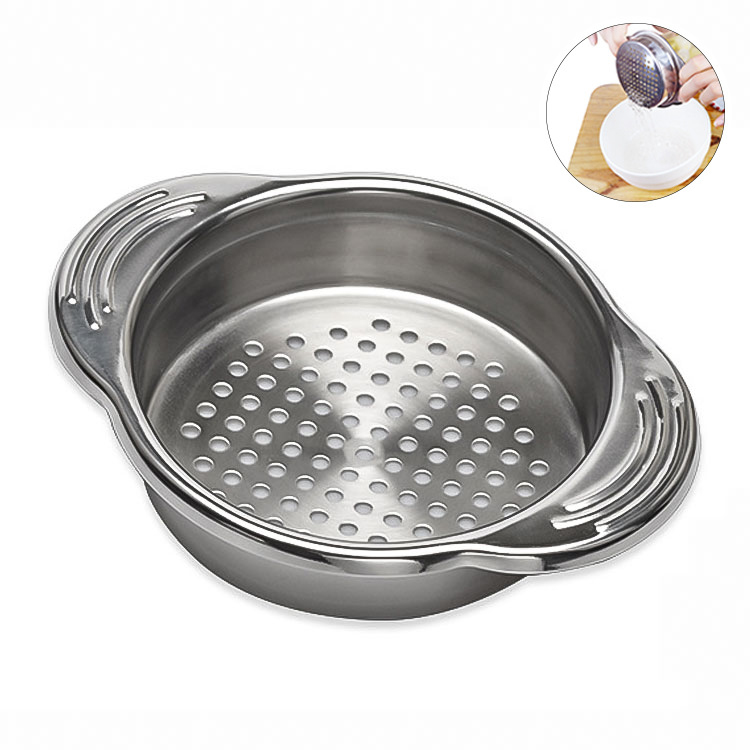 Stainless Steel Food Can Strainer, Sieve Tuna Press Lid Oil Drainer Remover, No Mess Design, Dishwasher Safe image