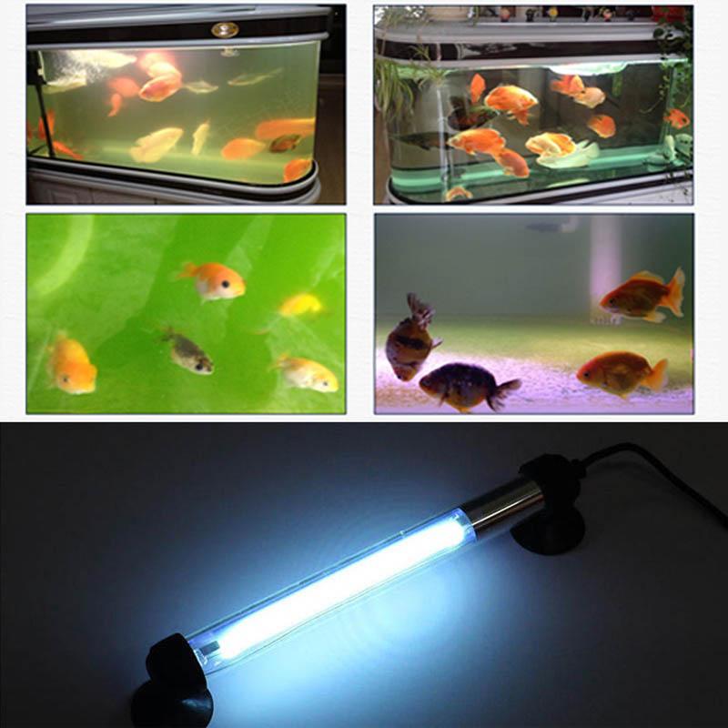 EU/US Plug Waterproof Aquarium Fish Tank Submersible Light UV Sterilizer Lamp for All Water CLH@8 new 1 pcs us plug 50 100 200 300 aquarium mini submersible fish tank adjustable water temperature heater t0 2