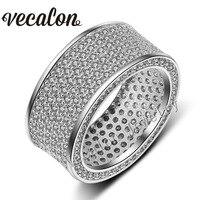 Vecalon полный 320 шт. AAAAA Циркон CZ обручальное кольцо для Для женщин 10kt Белое Золото Заполненные женский Обручение Группа Sz 5 11