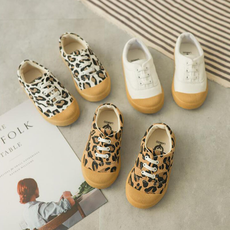 2019 fashion leopard print children's shoes spring new low-top casual shoes girls sports shoes soft bottom non-slip canvas