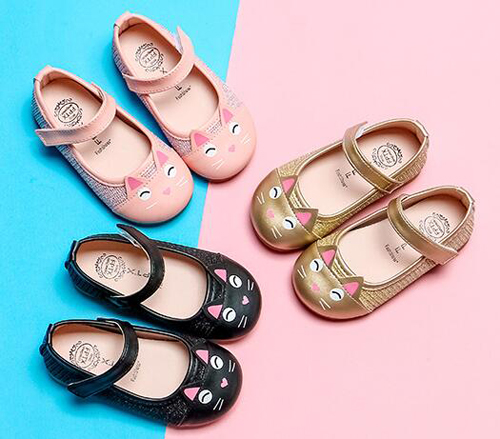 Girls Shoes Princess  Cat Shoes Gold Pink Kids Spring Autumn Shoe Nina Sapatos Wedding Birthday Party Toddler Mary Jane