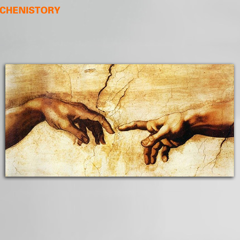 Unframed Cotton Creation Of Adam Genom Michelangelo Print Painting Canvas Famous Oil Painting För Living Room Wall Art Picture
