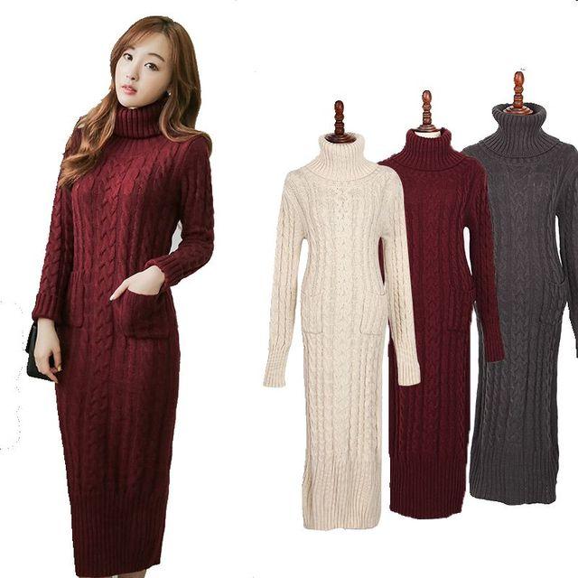 39a33332d4ce9 2017new kore moda giyim kadın elbise ince uzun büküm balıkçı yaka kazak  örme kış elbise kalınlaşma