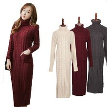 2017new korean fashion clothing women dress slim long twist turtleneck sweater knitted winter dress thickening