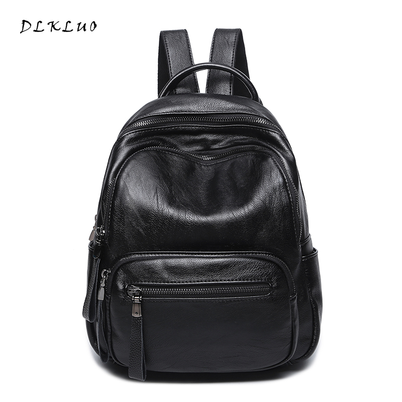 DLKLUO Genuine Leather Women Backpack Hot sale High Quality Soft Waterproof Sheepskin bag Fashion  Girls School Bag Travel Bag  hot sale high quality ultra light waterproof child school bag lovely children backpack girls backpack grade class 1 6