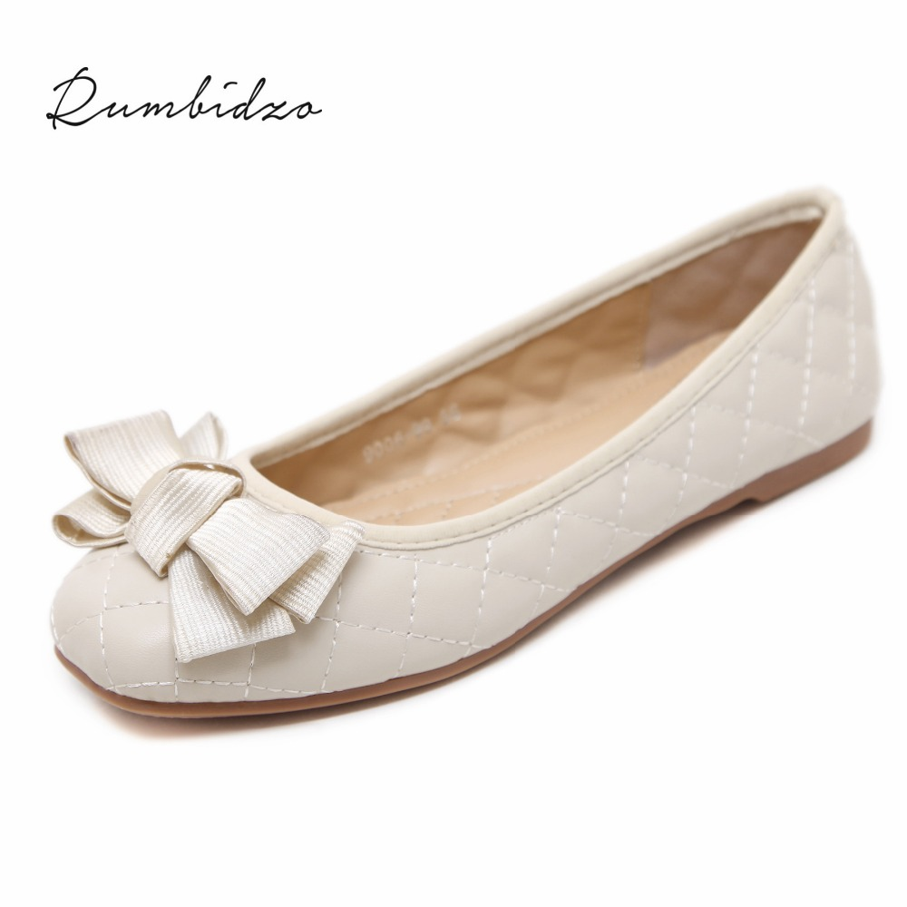 Rumbidzo 2018 Fashion Women Flats Shoes Round Toe Slip on Flat Heel Shoes Woman Soft Sole Ballet Shoes  Comfortable Zapatos hyfmwzs soft and breathable flat shoes women slip on non slip leather shoes woman comfortable lace up ballet flats zapatos mujer