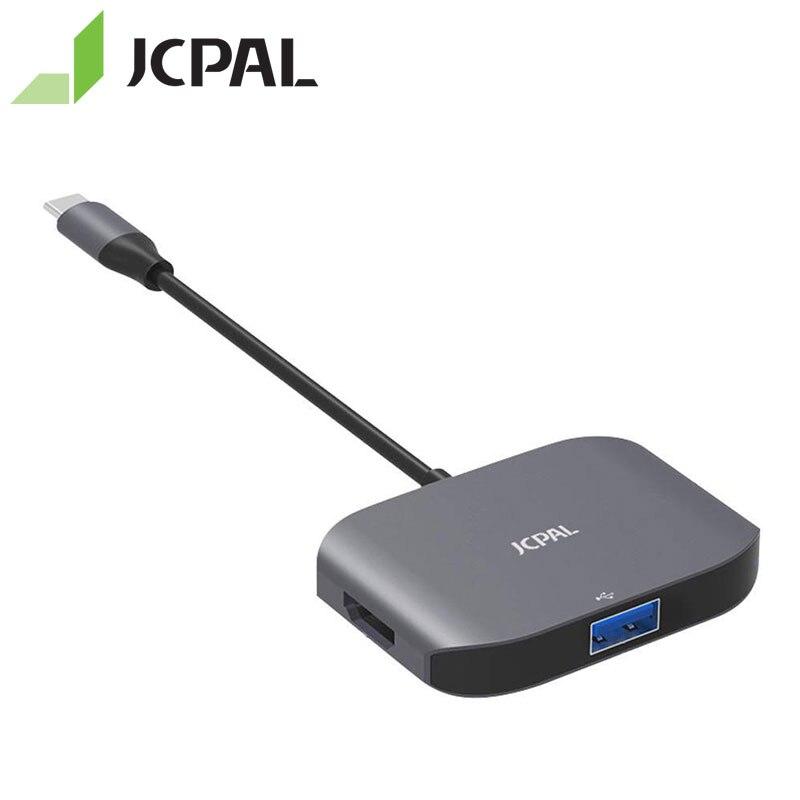 JCPAL Multiport USB-C moyeu HDMI 4 K 30Hz avec USB 3.0 commutateur séparateur pour Macbook Pro aluminium type-c moyeu HDMI pour Surface
