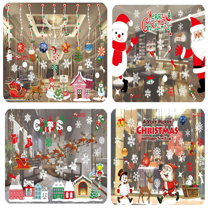 2017 Colorful SnowFlakes Santa Claus Merry Christmas Window Wall PVC Stickers Xmas Christmas Decoration Removable Home Decals