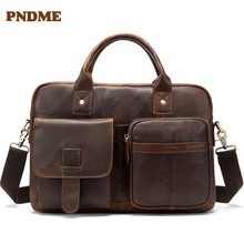 Men's business bag men's single-shoulder bag leather large capacity vintage cross-body briefcase