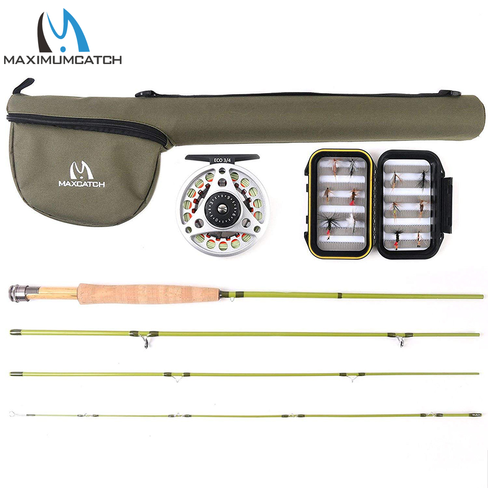Maximumcatch Small Stream Creek Fly Fishing Rod & Aluminum Reel & Line Combo 1/2/3 WT 6'-7'6''Super Light Carbon Fly Rod(China)