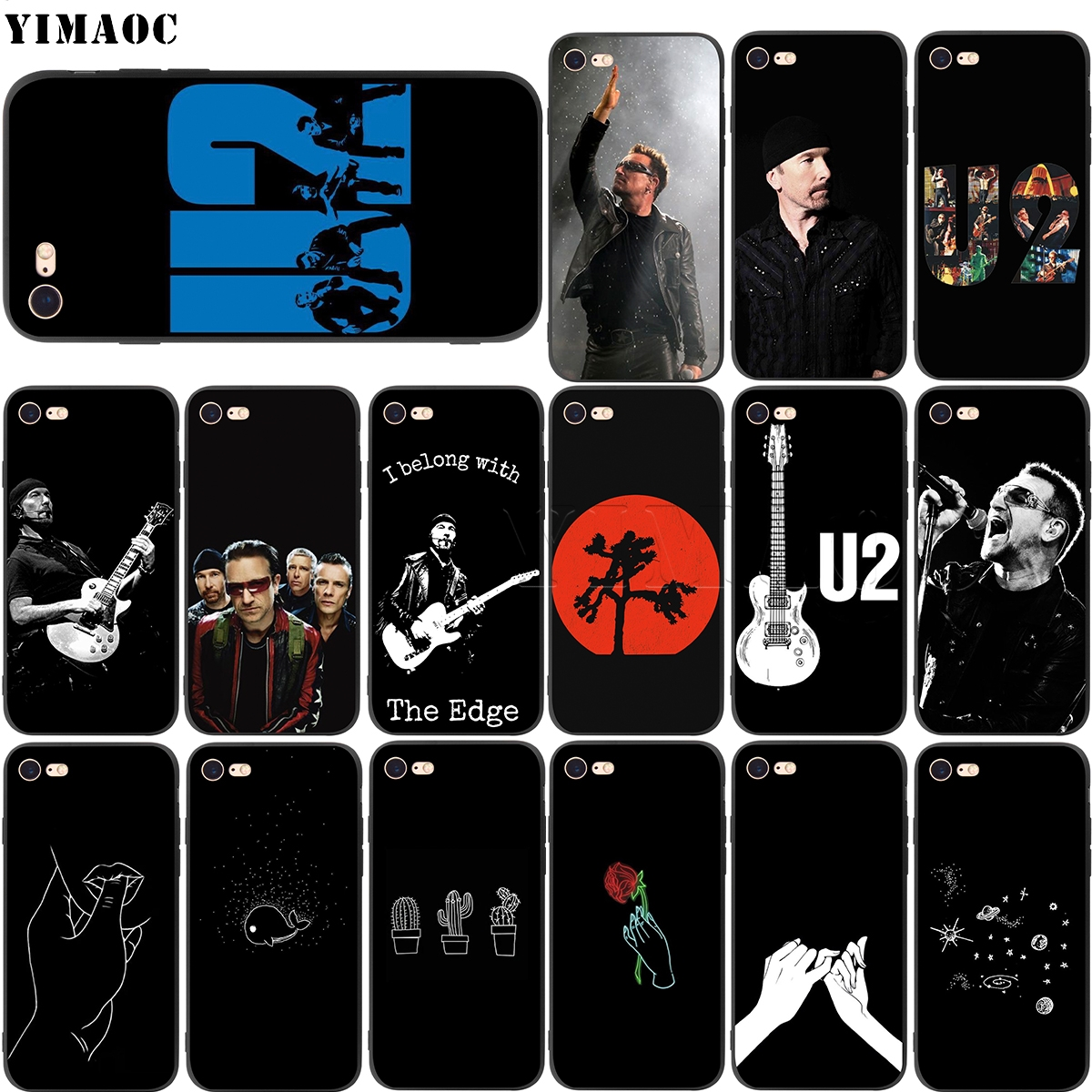 YIMAOC U2 Bono The Edge Soft Silicone Case for iPhone 11 Pro XS Max XR X 8 7 6 6S Plus 5 5s se image