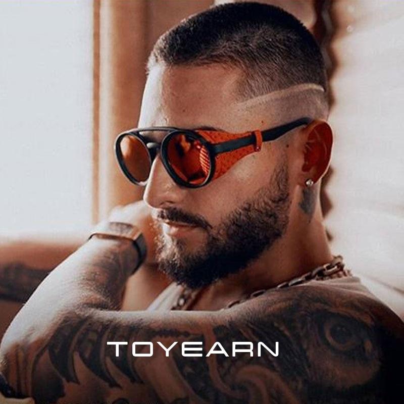 Classic Brand Design Fashion Round Steampunk Sunglasses Men Vintage Punk Rivet Wrap Sun Glasses For Male Retro Leather Eyewear