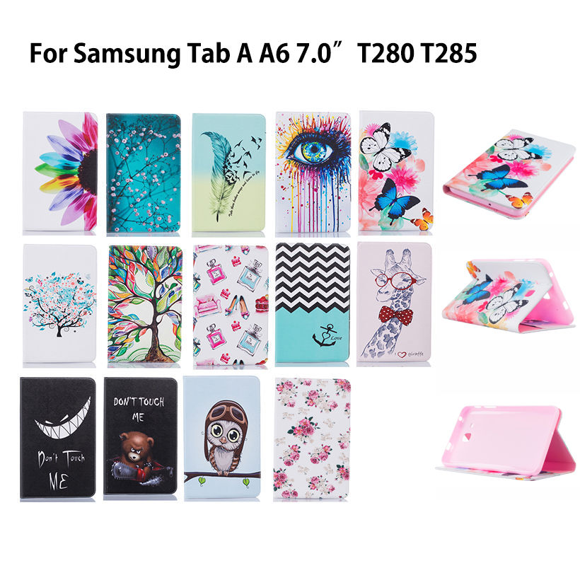 Fashion Cartoon Case Cover For Samsung Galaxy Tab A a6 7.0 T280 T285 SM-T280 Cases Funda Tablet Flip Stand Silicon Leather Shell 2016 new arrival leather case for samsung galaxy tab a a6 7 0 t280 t285 sm t280 cases cover tablet funda hand holder business
