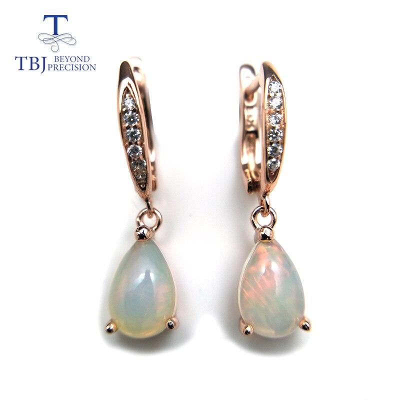TBJ, boucle d'oreille en opale ehiopian arc-en-ciel naturel en argent sterling 925 simple élégant bijoux en pierres précieuses pour les filles avec boîte-cadeau