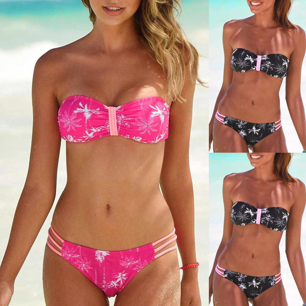 Maillot de bain femme Sexy Bikini maillot de bain femmes imprimé fleuri Bikini ensemble natation deux pièces maillots de bain maillot de bain costume de plage