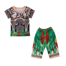 Kids Boy Halloween Maui Moana Fancy Costume set Child Summer Cotton T-shirt Pajamas Gift For 3-8Y 61901