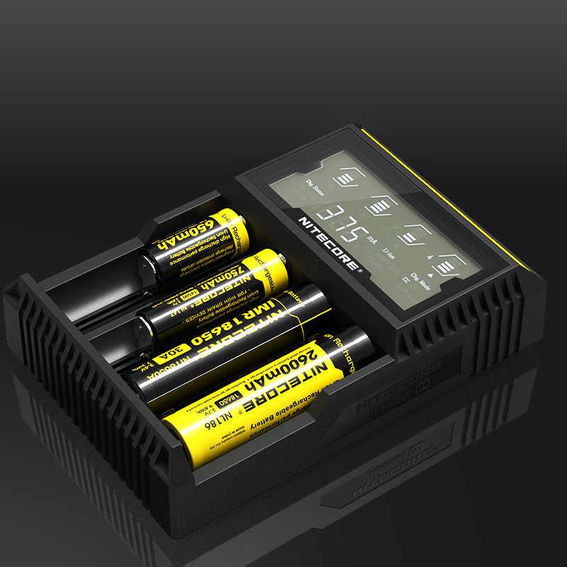 NITECORE D4 ЖК-дисплей интеллигентая (ый) схема глобального страхования литий-ионным IMR AAA CR123 18650 14500 16340 26650 17500 18500 Зарядное устройство Батарея