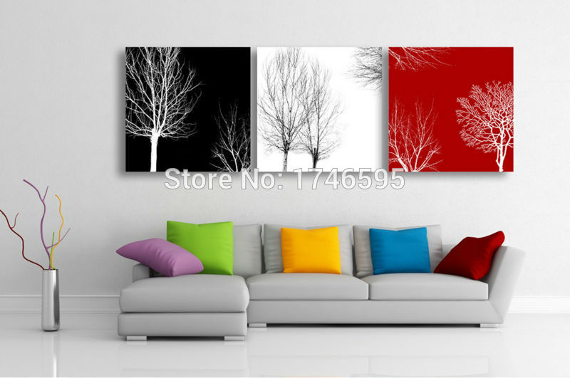 Big Size 3pcs Living Room Bedroom Wall Decor Home Decor Abstract Black White Red Tree Wall Art Picture Canvas Art Print Painting Art Pictures Wall Art Picturered Tree Aliexpress