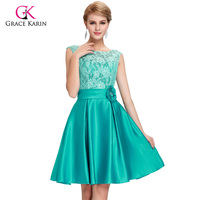 2018 Grace Karin Green Blue Mother of the Bride Dresses short knee length Satin Lace brides mother dresses for weddings 6116