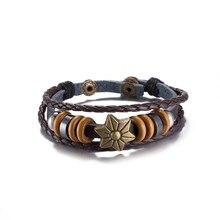 Wholesale Punk Rock Vintage Unisex Charm Bracelet for Women Men Bronze Star Rivet Genuine Leather Braided Bracelets Hexagram