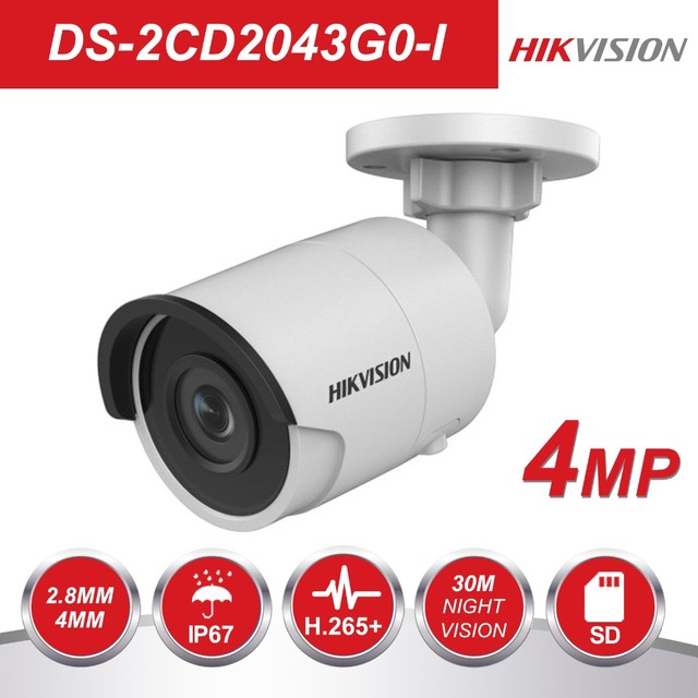 US $94 88 31% OFF|Hikvision H 265 Bullet IP Camera PoE DS 2CD2043G0 I 4MP  CMOS IR Network Video Surveillance with SD Card Slot Face Dectection-in