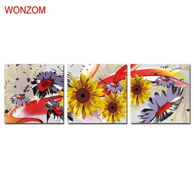 Incorniciato Crisantemo Dipinti Su Tela Moderno 3 Pz Quadri Su Tela ...