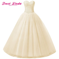 Elegant Strapless Sweetheart Beading Tops Prom Gown Floor Length Wedding Party Bride Dress