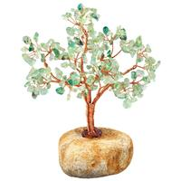 TUMBEELLUWA Natural Pebble Stone Base Feng Shui Bonsai Crystal Money Tree for Wealth and Luck, Home Office Decoration