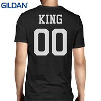 GILDAN Męskie Koszulki Moda 2017 365 Druk Król 00 Powrót Numer Czarny Para Tee Za Zaangażowanie Sesji Zdjęciowej