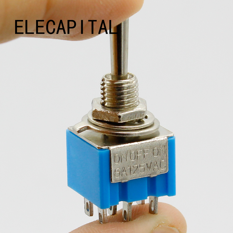 Promotion! 5pcs 3 Position 2P2T DPDT ON-OFF-ON Miniature Mini Toggle Switch 5 x on off small toggle switch miniature spst 6mm ac250v 3a 120v 5a