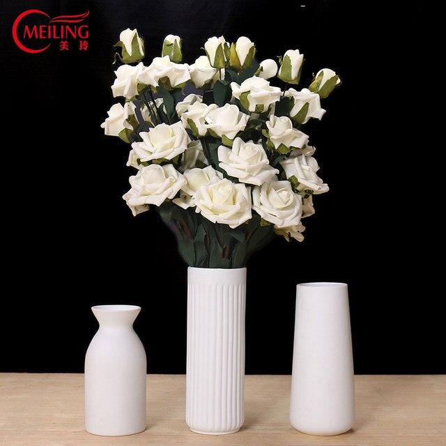 Meiling Modern White Vases Tall Wedding Decorative Vase Tabletop