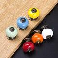 10 pçs/lote cerâmica colorido simples puxador armário de gaveta knob, Red, Amarelo, Verde, Branco, Laranja