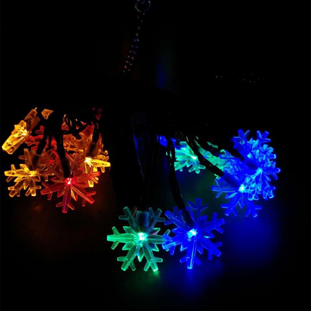 Outdoor Party Lights Us 8 45 35 Off Yiyang Solar Snowflake Luminaria Lights 4 8m 10m 12m 22m Christmas Outdoor Garden Party Lights Xmas Decorations Luces Solar In