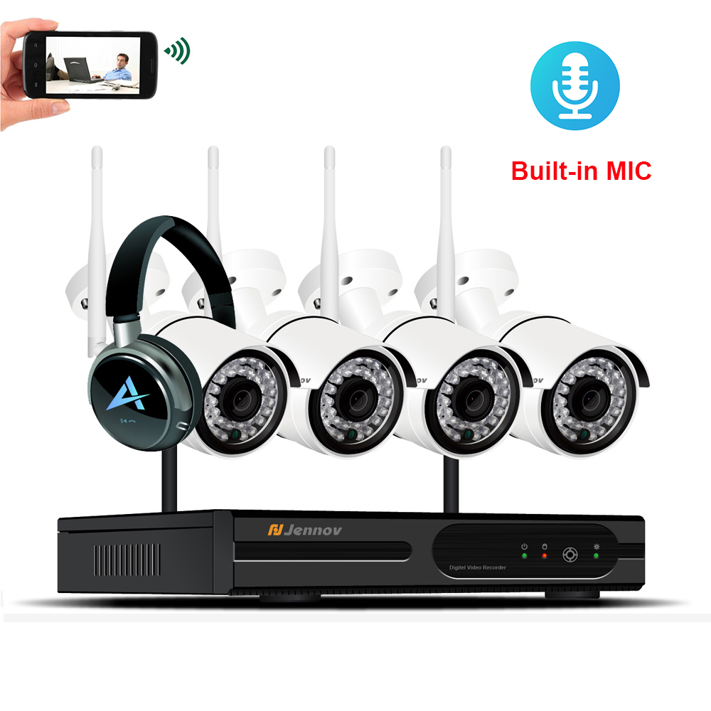 4CH 2MP 1080P HD Home Security Kit CCTV IP Camera System Audio Record Camara Wifi Video Surveillance Wireless Outdoor NVR ipcam 6ch poe 1080p 2mp audio record home security camera with led light video surveillance system kit cctv set nvr outdoor ipcam ir
